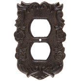 Rust Floral Swirl Cast Iron Outlet Cover